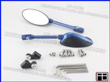 Bare mirrors blue Kawasaki ZX6R 05-08 CNC machined alloy multi adjustable 01